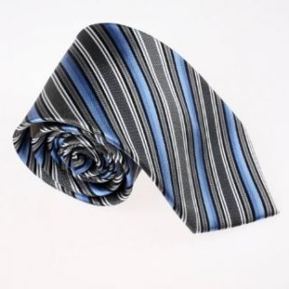 Blue Gray Striped Woven Silk Tie Gift Box Set Perfect Gift