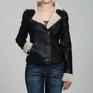 Collezione Womens Plus Size Leather Faux Shearling Moto Jacket