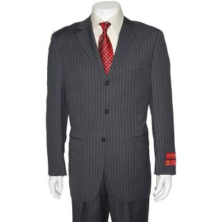 Mantoni Mens Grey Stripes Three button Wool Suit