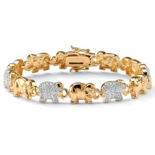 Ultimate CZ 14k Two tone Gold Cubic Zirconia Elephant Link Bracelet
