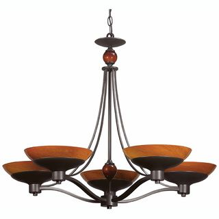 Triarch International Halogen VI 5 light Oil Rubbed Bronze Chandelier