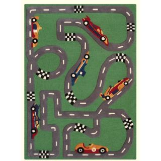 Hand carved Alexa Kids Car Race Finish Line Green Wool Rug (36 x 56