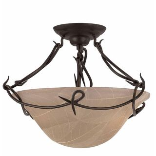 Whisper Blacksmith Bronze 2 light Semi Flush Ceiling Light