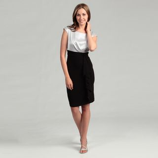 London Times Womens Black/ Cloud Pleat Dress