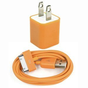 Case Star ® Orange USB Wall Charger + 3Ft USB Charge and