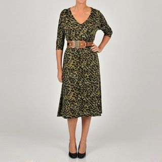 Tiana B Womens Green Animal Print Dolman Sleeve Dress