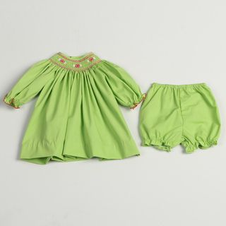 Petit Ami Newborn Girls Lime Smock Collared Dress