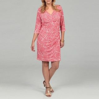 Jessica Howard Womens Plus Size Coral Absract Printed Dress FINAL