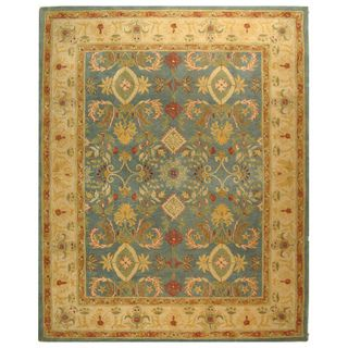 Handmade Legacy Light Blue Wool Rug (9 x 12)