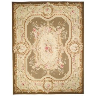 Hand knotted French Aubusson Taupe/ Ivory Wool Rug (12 x 15
