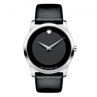 Movado Mens Museum Black Leather Strap Watch