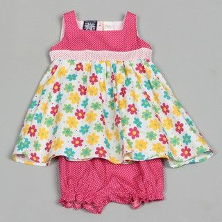 So La Vita Infant Girls Flowers and Polka Dot Dress