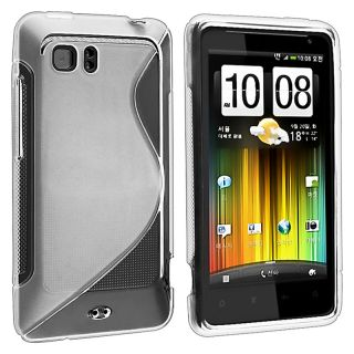 Frost White S Shape TPU Rubber Skin Case for HTC Holiday/ Vivid