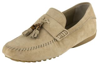 Gucci Mens Suede Moccasins with Bamboo Detail