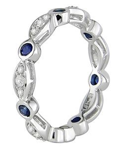 14k Gold Blue Sapphire & Diamond Eternity Band