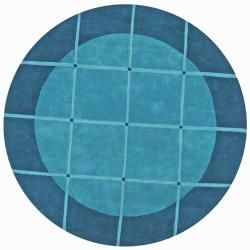 Hand tufted Grid Blue Geometric Wool Rug (8 Round)