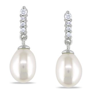Miadora 14k White Gold Freshwater Pearl and Diamond Earrings (H I, I1