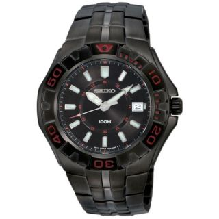 Seiko Mens Sport Black Ion plated Stainless Steel Quartz Watch