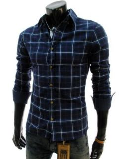 TheLees (JCS036) Mens Casual Slim Fit Long Sleeve Checker