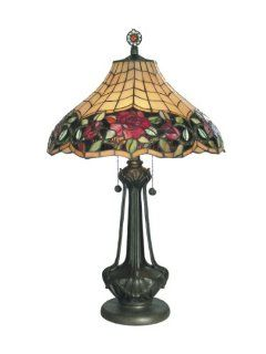 Dale Tiffany TT60581 Autumn Rose Table Lamp, Mica Bronze and Art Glass