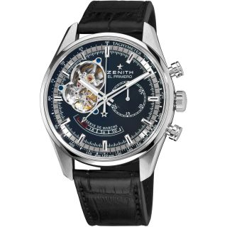Zenith Mens Chronomaster XXT Open Black Dial Leather Strap Watch
