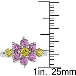 14k White Gold Pink Yellow Sapphire Flower Ring