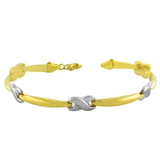 14k Two tone Gold Polished/ Satin X Stampato Bracelet