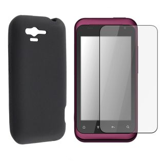 Black Skin Case/ LCD Screen Protector Guard for HTC Rhyme