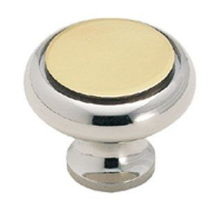 Amerock Solid Brass 1 1/4 Cabinet Knob Polished Chrome With Polished