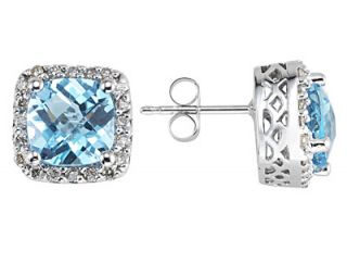 14k White Gold Blue Topaz and Diamond Earrings