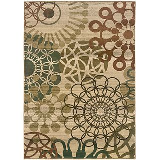 Sydney Beige/ Blue Contemporary Area Rug (67 x 91)