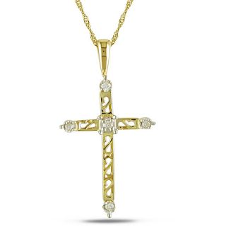 10k Yellow Gold Diamond Accent Cross Necklace