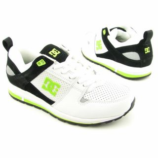 DC Shoes Mens White/Black/Soft Lime Skate Shoes