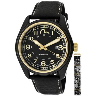 Evisu Mens Hiro Black Leather Watch