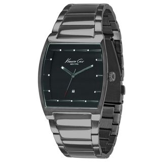 Kenneth Cole Mens Silver Stainless Steel and Black Dial Quartz Watch