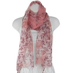 Hand woven Silk Pink Butterfly in Rose Garden Scarf (India